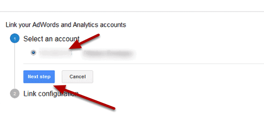link adwords to analytics step 4