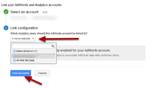 link adwords to analytics step 5