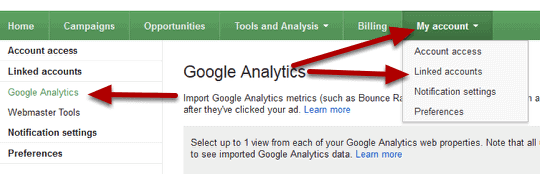 link adwords to analytics step 6