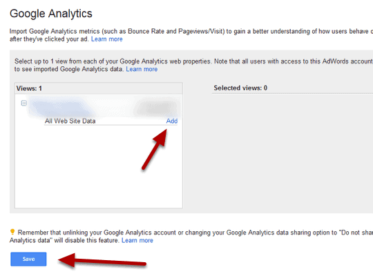 link adwords to analytics step 7