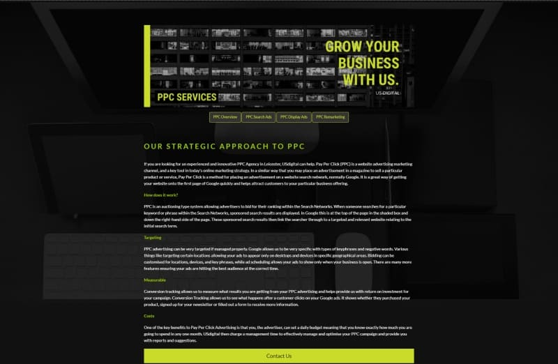 ppc landing page with bad colour combinations and small fonts